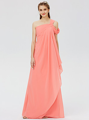 cheap Special Occasion Dresses-Ball Gown / A-Line One Shoulder Floor Length Chiffon Bridesmaid Dress with Criss Cross / Pleats