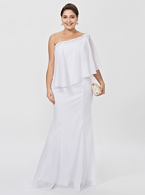 cbc3b68068b Plus Size Sheath   Column One Shoulder Floor Length Chiffon Mother of the Bride  Dress with