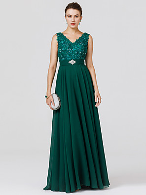 cheap Bridesmaid Dresses-A-Line Elegant Formal Evening Black Tie Gala Dress V Neck Sleeveless Floor Length Chiffon Lace Bodice with Sash / Ribbon Beading 2020