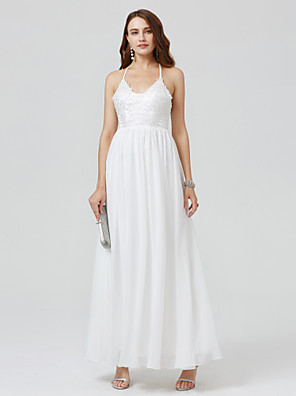 cheap Cocktail Dresses-Ball Gown Minimalist Holiday Cocktail Party Prom Dress Spaghetti Strap Sleeveless Floor Length Chiffon Lace with Pleats Beading 2020 / Formal Evening