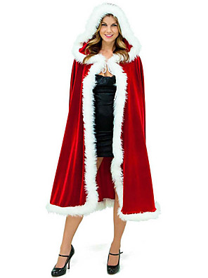 cheap Men's Hats-Santa Claus Mrs.Claus Cloak Santa Clothes Women's Christmas Festival / Holiday Plush Fabric Red Carnival Costumes Solid Colored