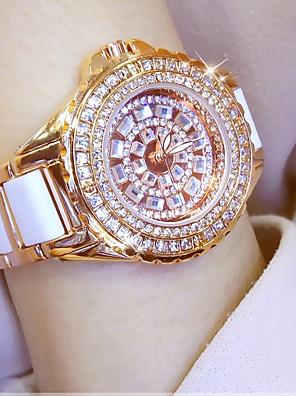 cheap Quartz Watches-Women's Wrist Watch Diamond Watch Gold Watch Japanese Quartz Stainless Steel Ceramic White / Silver / Gold 30 m Casual Watch Analog Ladies Charm - Rose Gold Gold Silver