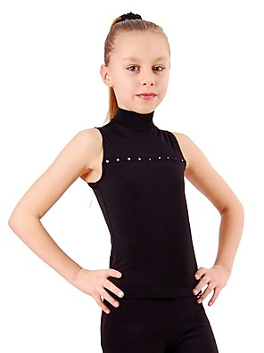 cheap Ice Skating Dresses , Pants & Jackets-Figure Skating Top Women's Girls' Ice Skating Top Black Fuchsia Spandex Stretchy Training Competition Skating Wear Solid Colored Sleeveless Ice Skating Figure Skating