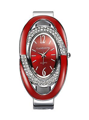 저렴한 쿼츠 시계-여성용 팔찌 시계 모조 다이아몬드 시계 다이아몬드 시계 석영 숙녀 모조 다이아몬드 블랙 / 실버 / 레드 아날로그 - 화이트 블랙 레드