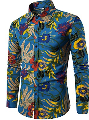 cheap Men's Shirts-Men's Plus Size Floral Slim Shirt - Linen Boho Going out Weekend Blue / Spring / Fall / Long Sleeve