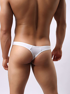 cheap Men's Exotic Underwear-Men's G-string Underwear Solid Colored 1 Piece Low Waist Wine White S M L