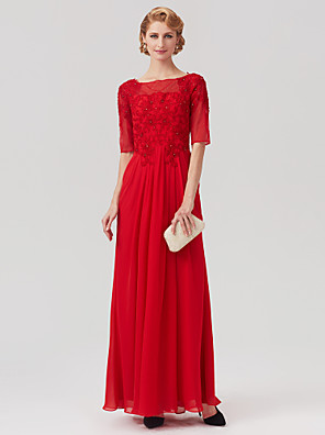 cheap Special Occasion Dresses-A-Line Mother of the Bride Dress Elegant Plus Size Bateau Neck Ankle Length Chiffon Half Sleeve with Appliques Flower 2020 / Illusion Sleeve