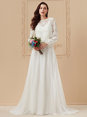 cheap Wedding Dresses-A-Line Wedding Dresses Bateau Neck Sweep / Brush Train Sheer Lace Corded Lace Cotton Long Sleeve Boho Separate Bodies with Appliques 2020 / Illusion Sleeve