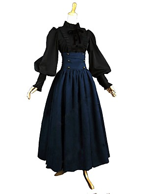 cheap Historical & Vintage Costumes-Outfits Victorian Vintage Inspired Dress Blouse / Shirt Women's Girls' Cotton Costume Blue / Black Vintage Cosplay Long Sleeve Ankle Length Plus Size Customized