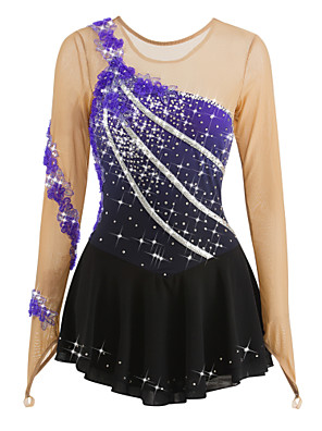 cheap Ice Skating Dresses , Pants & Jackets-Figure Skating Dress Women's Girls' Ice Skating Dress Flower Halo Dyeing Spandex Leisure Sports Competition Skating Wear Breathable Handmade Fashion Long Sleeve Ice Skating Figure Skating