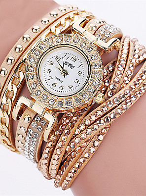 cheap Quartz Watches-Women's Wrist Watch Diamond Watch Gold Watch Quartz Leather Black / White / Blue Chronograph Casual Watch Analog Ladies Casual Fashion Elegant Halloween - Blue Pink Golden One Year Battery Life