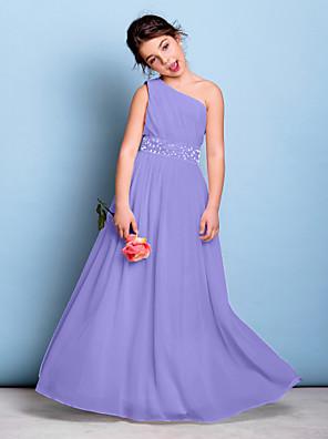 cheap Junior Bridesmaid Dresses-A-Line One Shoulder Floor Length Chiffon Junior Bridesmaid Dress with Beading / Sash / Ribbon / Side Draping / Natural