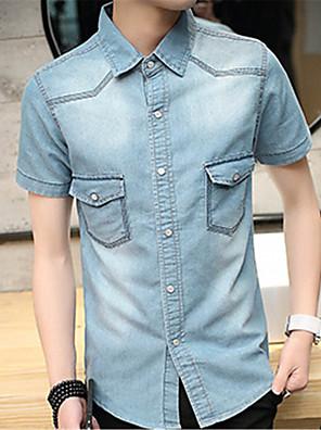 cheap Men's Shirts-Men's Solid Colored Slim Shirt Casual Daily Weekend Dark Blue / Light Blue / Summer / Short Sleeve