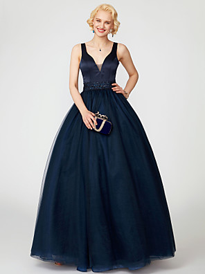 cheap Special Occasion Dresses-Ball Gown Holiday Cocktail Party Prom Dress V Neck Sleeveless Floor Length Satin Tulle with Sash / Ribbon Sequin 2020 / Formal Evening
