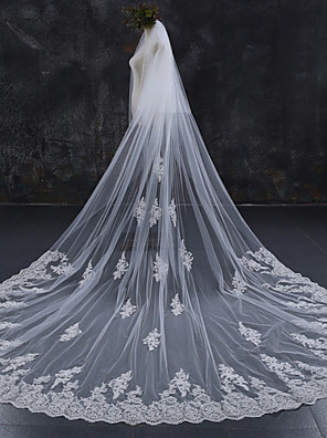 cheap Wedding Veils-Two-tier Lace Applique Edge / Wedding / Bridal Wedding Veil Chapel Veils / Cathedral Veils with Lace Lace / Tulle / Angel cut / Waterfall