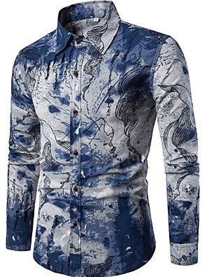 cheap Men's Shirts-Men's Abstract Print Slim Shirt - Linen Chinoiserie Going out Weekend Spread Collar Blue / Long Sleeve