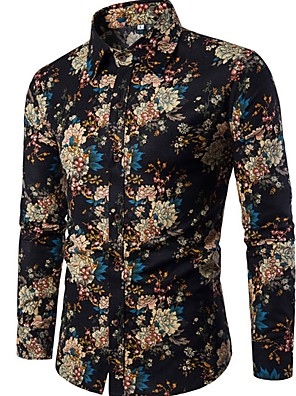 cheap Men's Shirts-Men's Floral Print Slim Shirt - Linen Boho Going out Club Spread Collar Black / Long Sleeve
