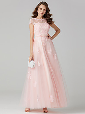 cheap Special Occasion Dresses-Ball Gown Pastel Colors Holiday Cocktail Party Prom Dress Jewel Neck Short Sleeve Floor Length Tulle Over Lace with Sashes / Ribbons Appliques 2020