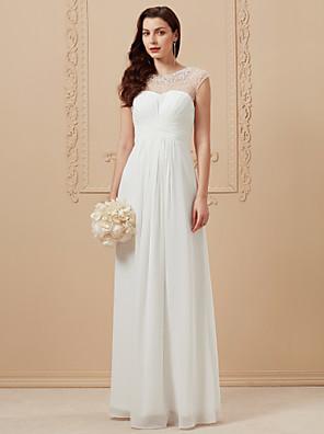 cheap Wedding Dresses-A-Line Wedding Dresses Jewel Neck Floor Length Chiffon Cap Sleeve Simple Casual Boho Sparkle & Shine See-Through with Criss Cross Beading 2020