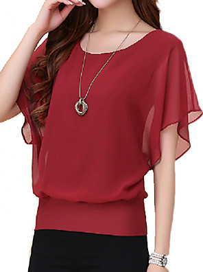 cheap Women's Dresses-Women's Plus Size Solid Colored Ruffle T-shirt Wine / White / Black / Purple / Blue