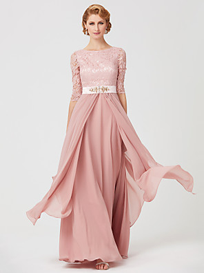 cheap Special Occasion Dresses-A-Line Mother of the Bride Dress Jewel Neck Ankle Length Chiffon Metallic Lace 3/4 Length Sleeve with Sash / Ribbon Beading 2020 / Illusion Sleeve