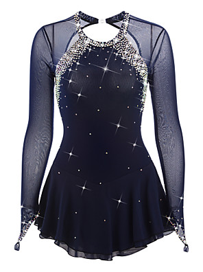 cheap Ice Skating Dresses , Pants & Jackets-Figure Skating Dress Women's Girls' Ice Skating Dress Black Deep Blue White Open Back Spandex Elastane High Elasticity Competition Skating Wear Handmade Jeweled Rhinestone Long Sleeve Ice Skating