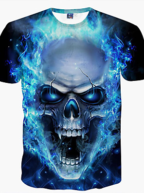 cheap Men's Tees & Tank Tops-Men's Daily T-shirt Graphic Skull Print Short Sleeve Tops Basic Round Neck Blue / Summer / Club