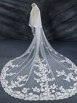 cheap Wedding Veils-Two-tier Lace Applique Edge / Wedding / Bridal Wedding Veil Cathedral Veils with Lace Lace / Tulle / Angel cut / Waterfall