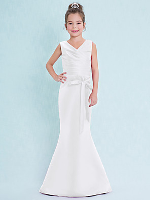 cheap Junior Bridesmaid Dresses-Mermaid / Trumpet V Neck Floor Length Satin Junior Bridesmaid Dress with Criss Cross / Natural