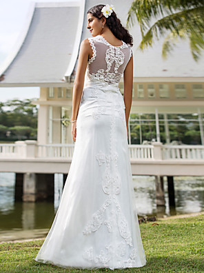 cheap Wedding Dresses-Sheath / Column Wedding Dresses V Neck Floor Length Lace Tulle Sleeveless See-Through with Appliques 2020