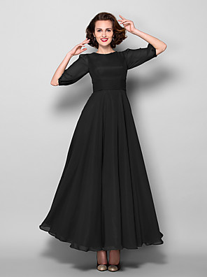 cheap Mother of the Bride Dresses-A-Line Mother of the Bride Dress Elegant Jewel Neck Ankle Length Chiffon Half Sleeve with Sash / Ribbon Ruched 2020