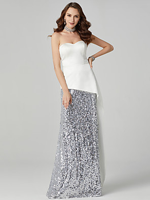 cheap Special Occasion Dresses-Sheath / Column Sparkle White Engagement Formal Evening Dress Sweetheart Neckline Sleeveless Sweep / Brush Train Satin Sequined with Sequin Draping 2020
