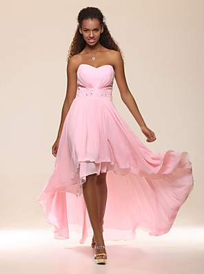 cheap Cocktail Dresses-Back To School A-Line Empire Pink Graduation Cocktail Party Dress Sweetheart Neckline Sleeveless Asymmetrical Chiffon with Crystals Tier 2020 Hoco Dress