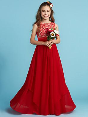 cheap Junior Bridesmaid Dresses-Sheath / Column Jewel Neck Floor Length Chiffon / Lace Junior Bridesmaid Dress with Sash / Ribbon / Appliques