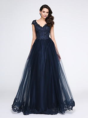 cheap Evening Dresses-A-Line Elegant Blue Prom Formal Evening Dress V Neck Sleeveless Floor Length Tulle Beaded Lace Lace Bodice with Appliques 2020