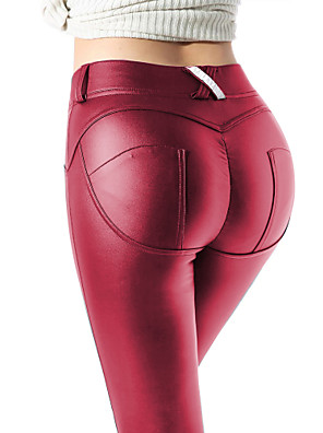 cheap Leggings-Women's Streetwear Daily PU Skinny Slim Pants Solid Colored Black Wine Silver S M L