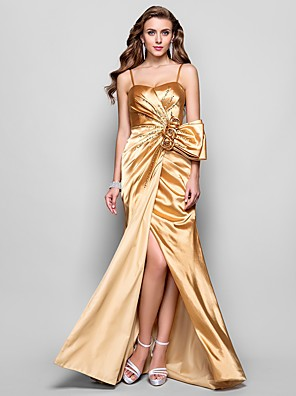 cheap Evening Dresses-A-Line Open Back Prom Formal Evening Military Ball Dress Spaghetti Strap Sleeveless Floor Length Stretch Satin with Split Front Flower 2020