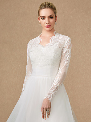 cheap Wedding Wraps-Long Sleeve Shrugs Lace / Tulle Wedding / Party / Evening Women's Wrap With Lace / Appliques / Zipper