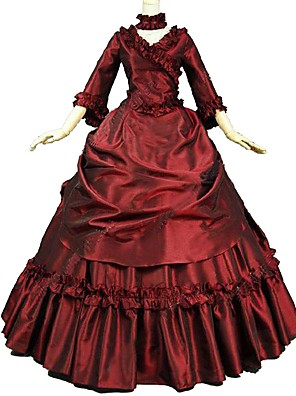 cheap Historical & Vintage Costumes-Marie Antoinette Flocking Rococo Victorian 18th Century Dress Masquerade Party Prom Women's Costume Red Vintage Cosplay Floor Length Ball Gown Plus Size Customized