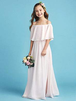 cheap Girls' Dresses-A-Line Off Shoulder Floor Length Chiffon Junior Bridesmaid Dress with Pleats
