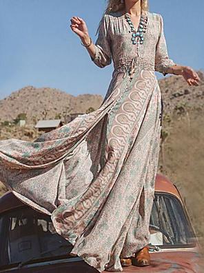 cheap Prom Dresses-Women's Swing Dress Maxi long Dress - Long Sleeve Tribal Print Spring Fall V Neck Boho Holiday Khaki S M L XL XXL XXXL XXXXL XXXXXL