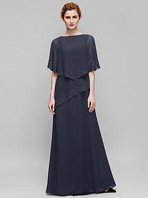 cheap Mother of the Bride Dresses-Sheath / Column Mother of the Bride Dress Elegant Bateau Neck Floor Length Chiffon Sleeveless with Beading 2020