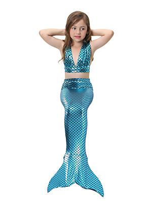 cheap Girls' Dresses-Kids Girls' Active Cute Sports Beach Mermaid Tail The Little Mermaid Solid Colored Mixed Color Sleeveless Cotton Swimwear Fuchsia