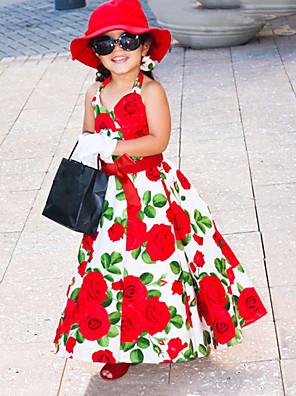 cheap Girls' Dresses-Toddler Girls' Birthday Daily Floral Sleeveless Dress Red / Cotton / Cute / Princess