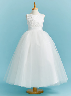 cheap Junior Bridesmaid Dresses-Ball Gown Crew Neck Floor Length Lace / Tulle Junior Bridesmaid Dress with Sash / Ribbon / Pleats / Beading