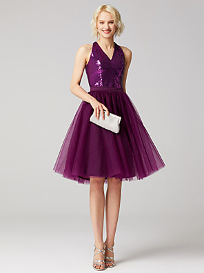 cheap Cocktail Dresses-Back To School Two Piece A-Line Cute Beaded & Sequin Holiday Homecoming Cocktail Party Dress V Neck Sleeveless Knee Length Tulle Sequined with Sash / Ribbon Sequin 2020 / Prom Hoco Dress