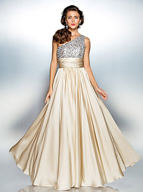 cheap Prom Dresses-A-Line Sparkle Gold Prom Formal Evening Dress One Shoulder Sleeveless Floor Length Chiffon Over Satin with Sequin 2020
