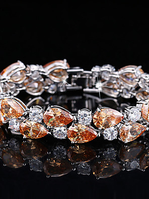 cheap Evening Dresses-Women's Synthetic Diamond Bracelet Rhinestone Bracelet Jewelry White / Purple / Orange For Wedding Party / Silver Plated