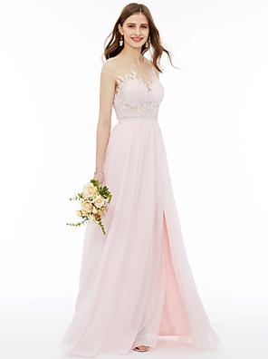 cheap Bridesmaid Dresses-A-Line Illusion Neck Floor Length Chiffon / Floral Lace Bridesmaid Dress with Appliques / Sash / Ribbon