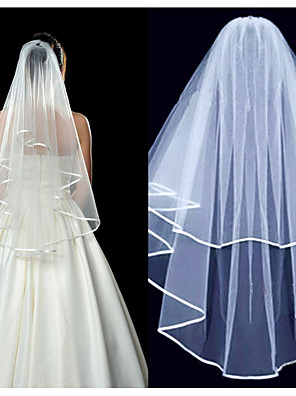 cheap Wedding Veils-Two-tier Solid Color Wedding Veil with Ruched Elastane / Mantilla